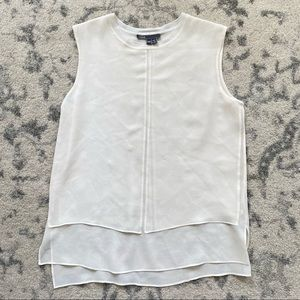 VINCE Cream Silk Sleeveless Blouse XXS